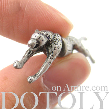 Fake Gauge Earrings: Realistic Leopard Cheetah Animal Shaped Plug Stud Earrings in Silver | DOTOLY