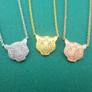 Bengal Siberian Tiger Face Shaped Animal Themed Pendant Necklace