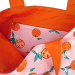 Pretty Orange Pink Clementine Fruity Print Reversible Tote Bags for Women