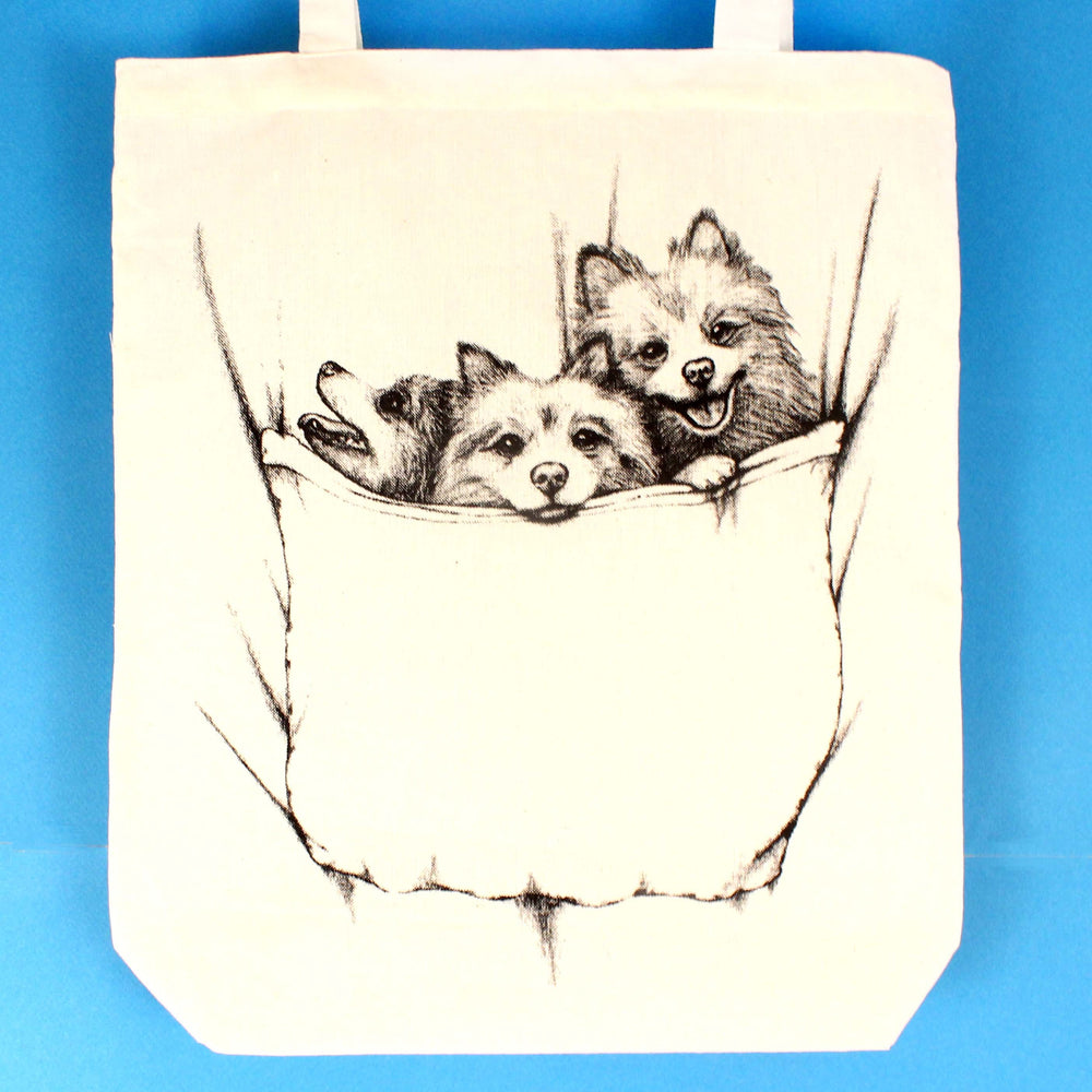 Baby Pomeranian Puppies Animal Pet Dog Print Tote Bag | 100% Natural Cotton | DOTOLY