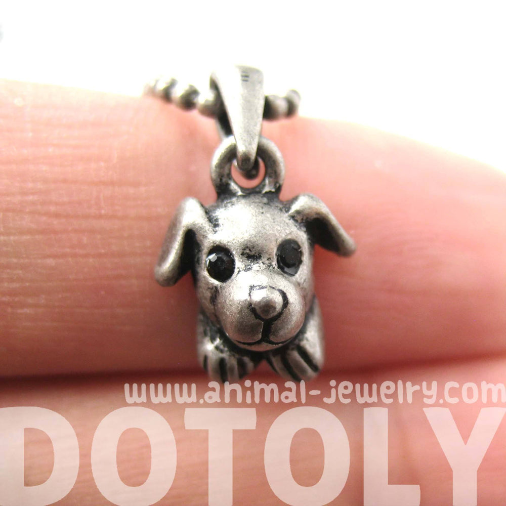 Puppy Dog Adorable Animal Charm Necklace in Silver | Animal Jewelry | DOTOLY