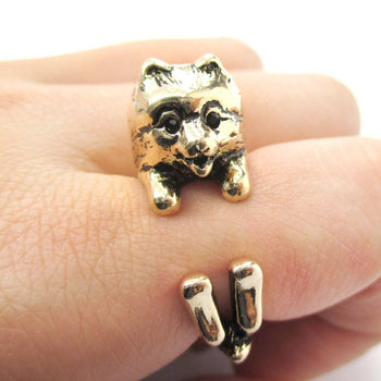 Realistic Pomeranian Pom Puppy Dog Shaped Animal Wrap Around Ring in Shiny Gold | US Sizes 4 to 8.5 | DOTOLY