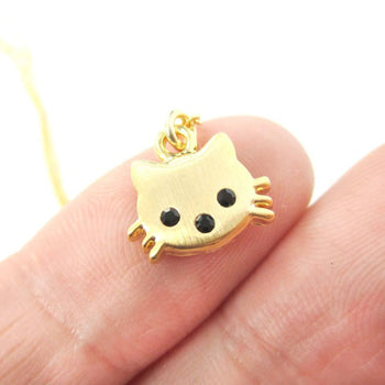 Tiny Kitty Cat Shaped Animal Charm Necklace in Gold | Animal Jewelry | DOTOLY