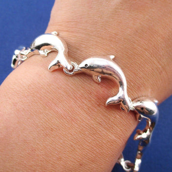 A Pod of Dolphins Shaped Charm Bracelet with Magnetic Clasp | DOTOLY