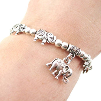 A Row Of Elephants Shaped Beaded Stretchy Bracelet | DOTOLY | DOTOLY