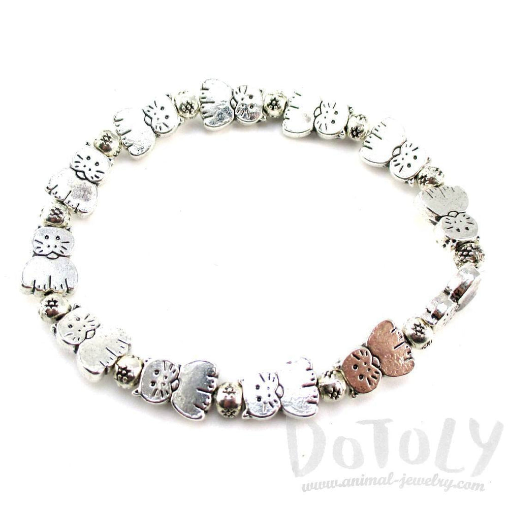A Row Of Kitty Cats Shaped Beaded Stretchy Bracelet in Silver | DOTOLY | DOTOLY
