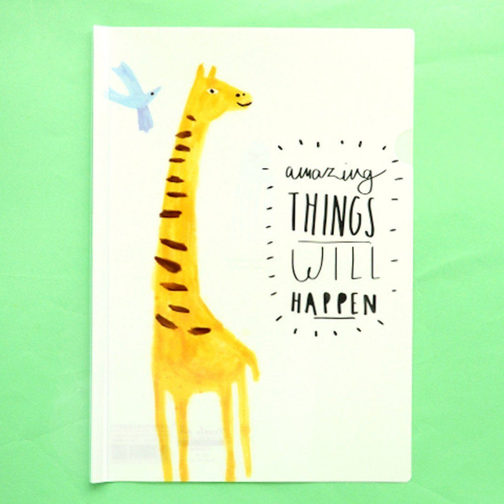 "A4 Giraffe Print ""Amazing Things Will Happen"" Quote Plastic Clear Sliding Bar File Folder Organizer 