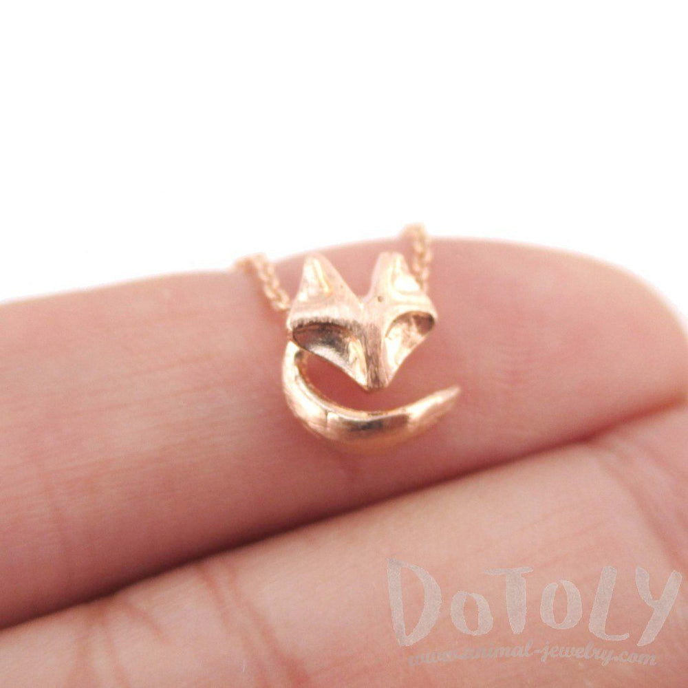 Abstract Baby Fox Shaped Charm Necklace in Rose Gold | Animal Jewelry | DOTOLY