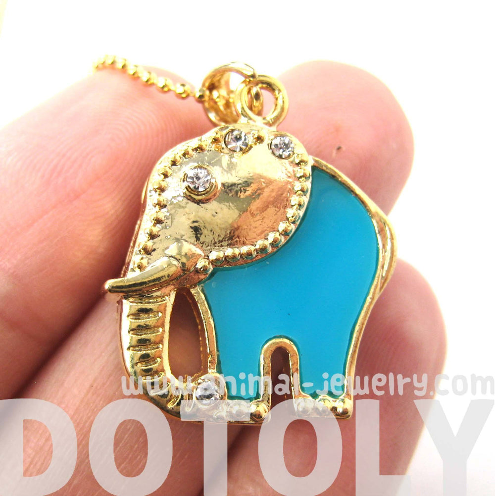 Abstract Elephant Animal Pendant Necklace in Gold and Turquoise | DOTOLY | DOTOLY