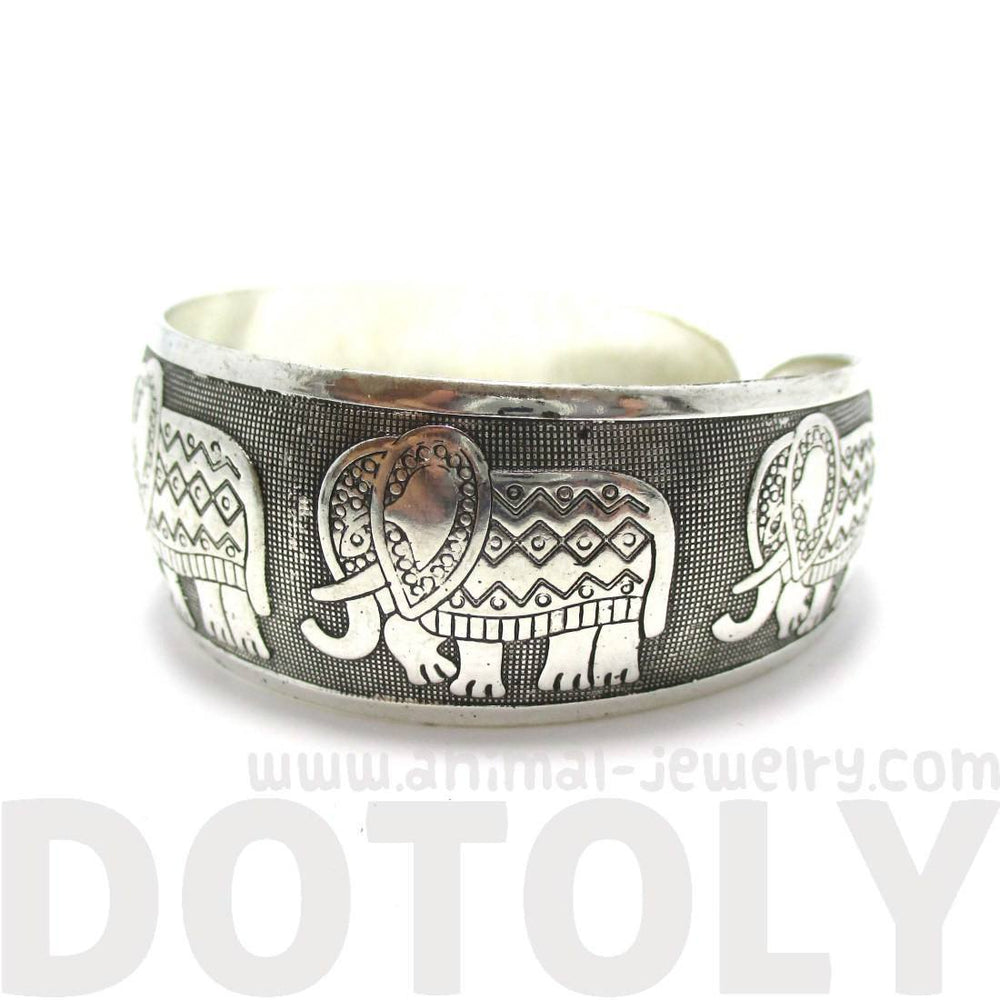 Abstract Elephant Shaped Bangle Cuff Bracelet in Silver | Animal Jewelry | DOTOLY