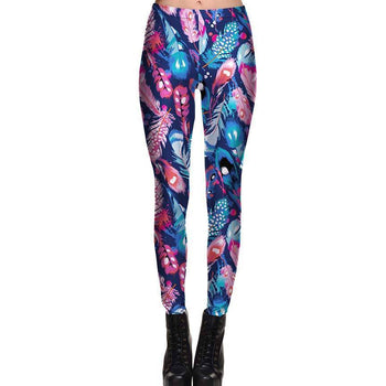 Abstract Feather Digital Print Legging Pants in Pink Blue and Purple | DOTOLY