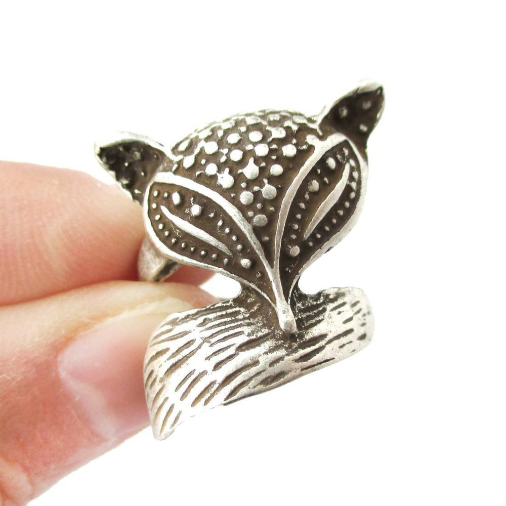 Abstract Fox Face Shaped Animal Wrap Around Ring in Silver | US Size 5 Only | DOTOLY