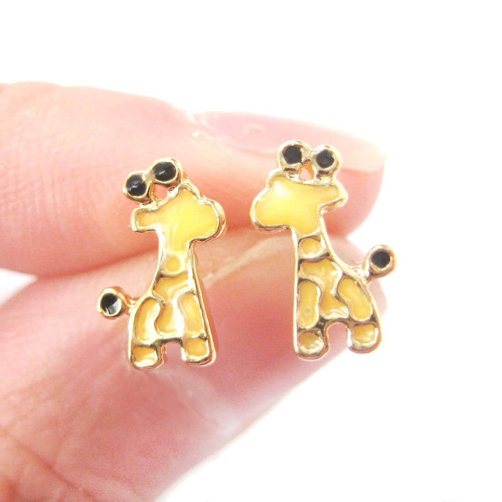 Abstract Giraffe Shaped Animal Themed Stud Earrings in Yellow | DOTOLY | DOTOLY