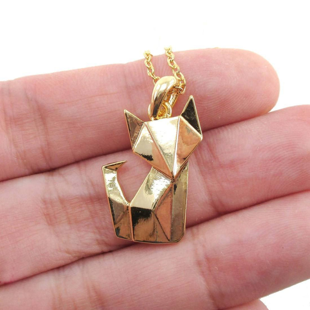 Abstract Origami Fox Shaped Pendant Necklace in Gold | Animal Jewelry | DOTOLY