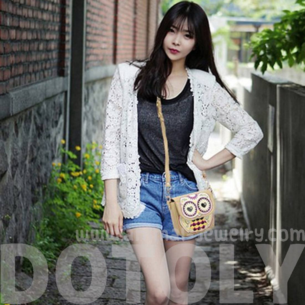 Abstract Owl Shaped Animal Themed Cross body Shoulder Bag for Women in Cream | DOTOLY