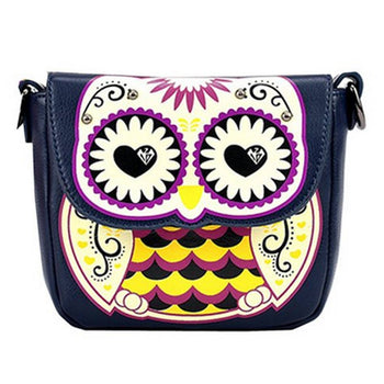 Abstract Owl Shaped Animal Themed Cross body Shoulder Bag for Women in Navy | DOTOLY
