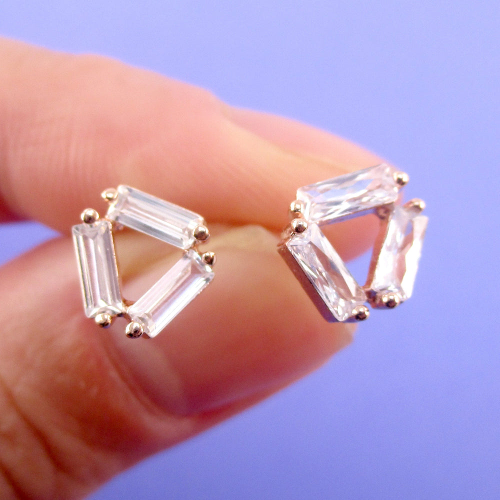 Abstract Triangular Rhinestone Stud Earrings in Gold or Rose Gold