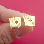 Ace of Spades and Clubs Poker Playing Cards Shaped Stud Earrings in Gold