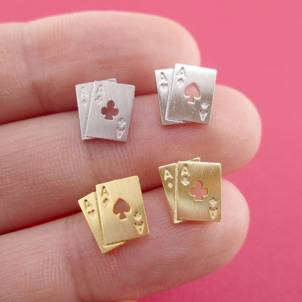 Ace of Spades and Clubs Poker Playing Cards Shaped Stud Earrings