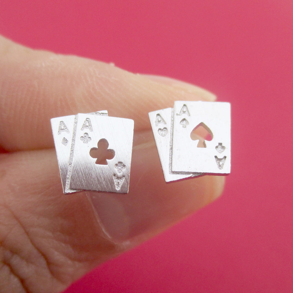 Ace of Spades and Clubs Poker Playing Cards Shaped Stud Earrings in Silver