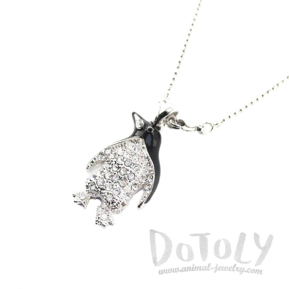 Adélie Penguin Shaped Rhinestone Pendant Necklace in Silver | DOTOLY