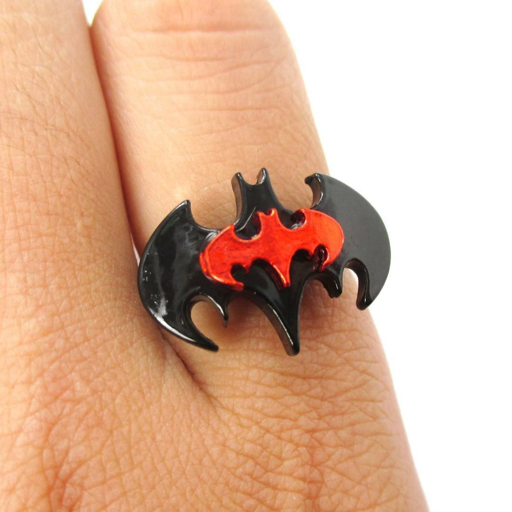 Batman Bat Shaped Silhouette Logo Adjustable Ring in Red on Black | DOTOLY