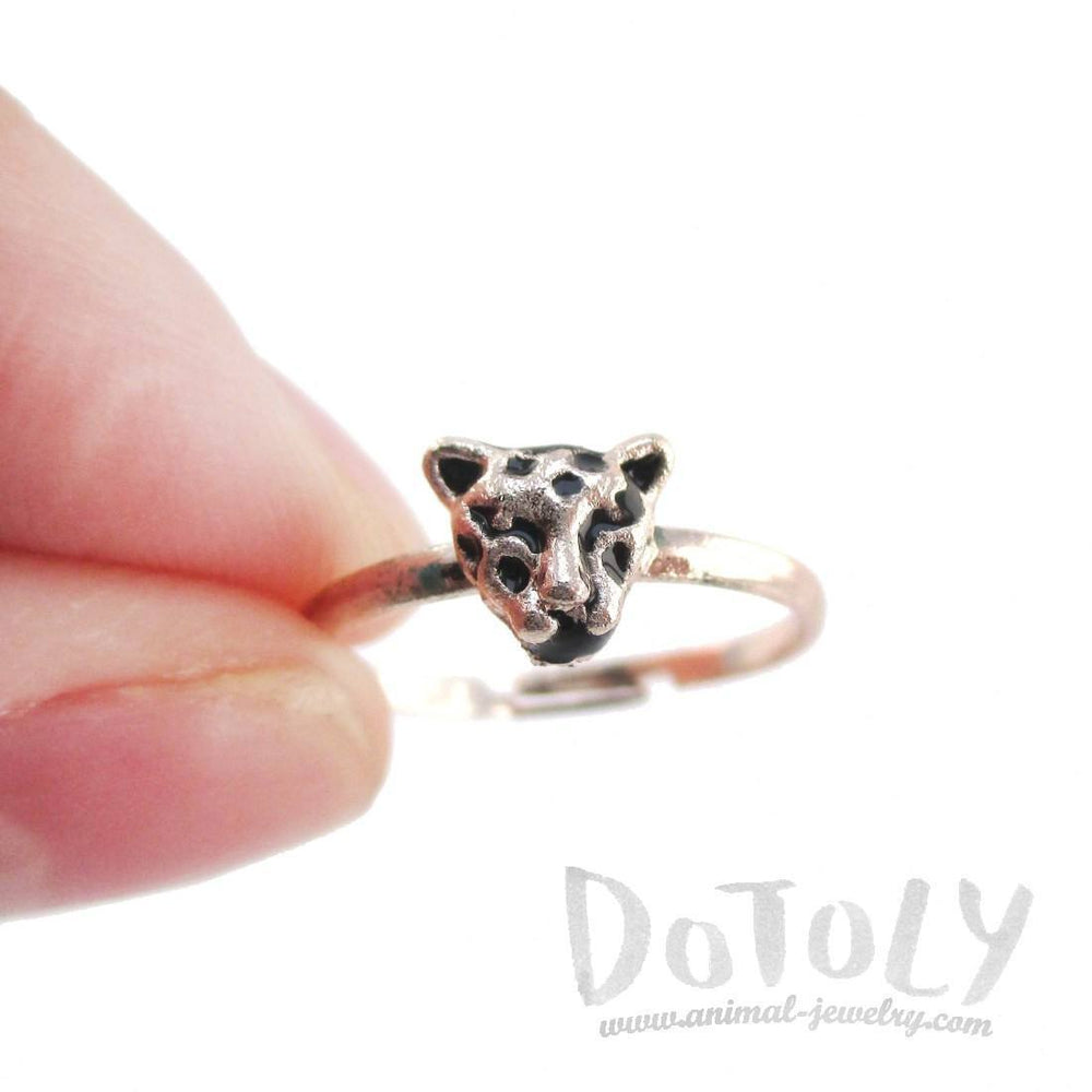 Adjustable Leopard Face Shaped Ring in Rose Gold | Animal Jewelry