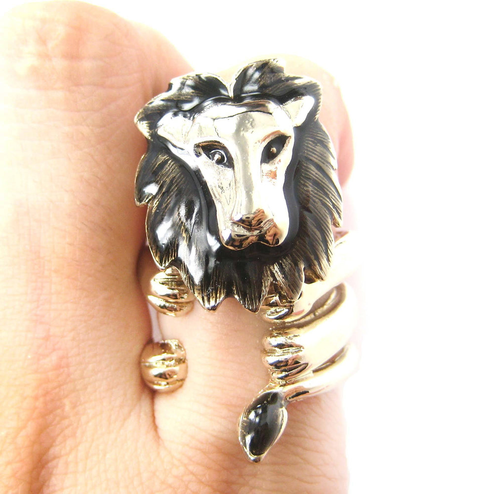 Adjustable Lion Animal Wrap Around Ring in Shiny Gold | DOTOLY | DOTOLY