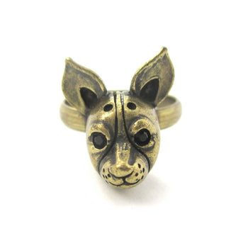 Adjustable Puppy Head Shaped Animal Ring in Brass | Gifts for Dog Lovers | DOTOLY
