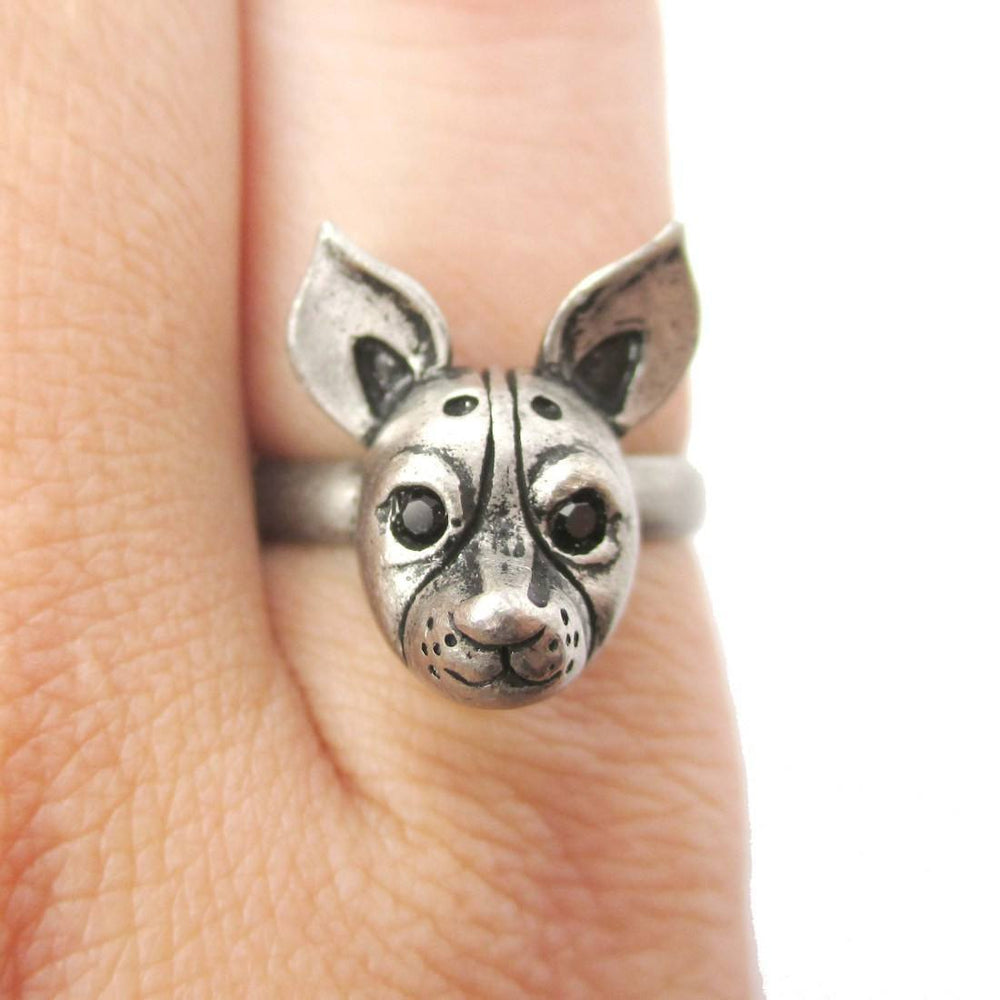 Adjustable Puppy Head Shaped Animal Ring in Silver | Gifts for Dog Lovers | DOTOLY