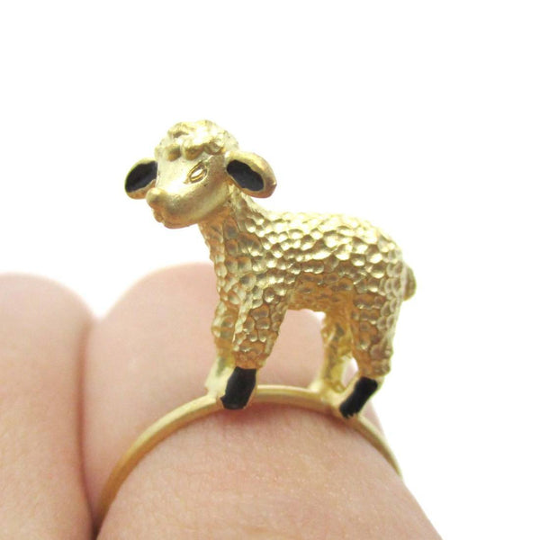 Adorable 3D Baby Lamb Sheep Shaped Animal Ring in Gold | DOTOLY