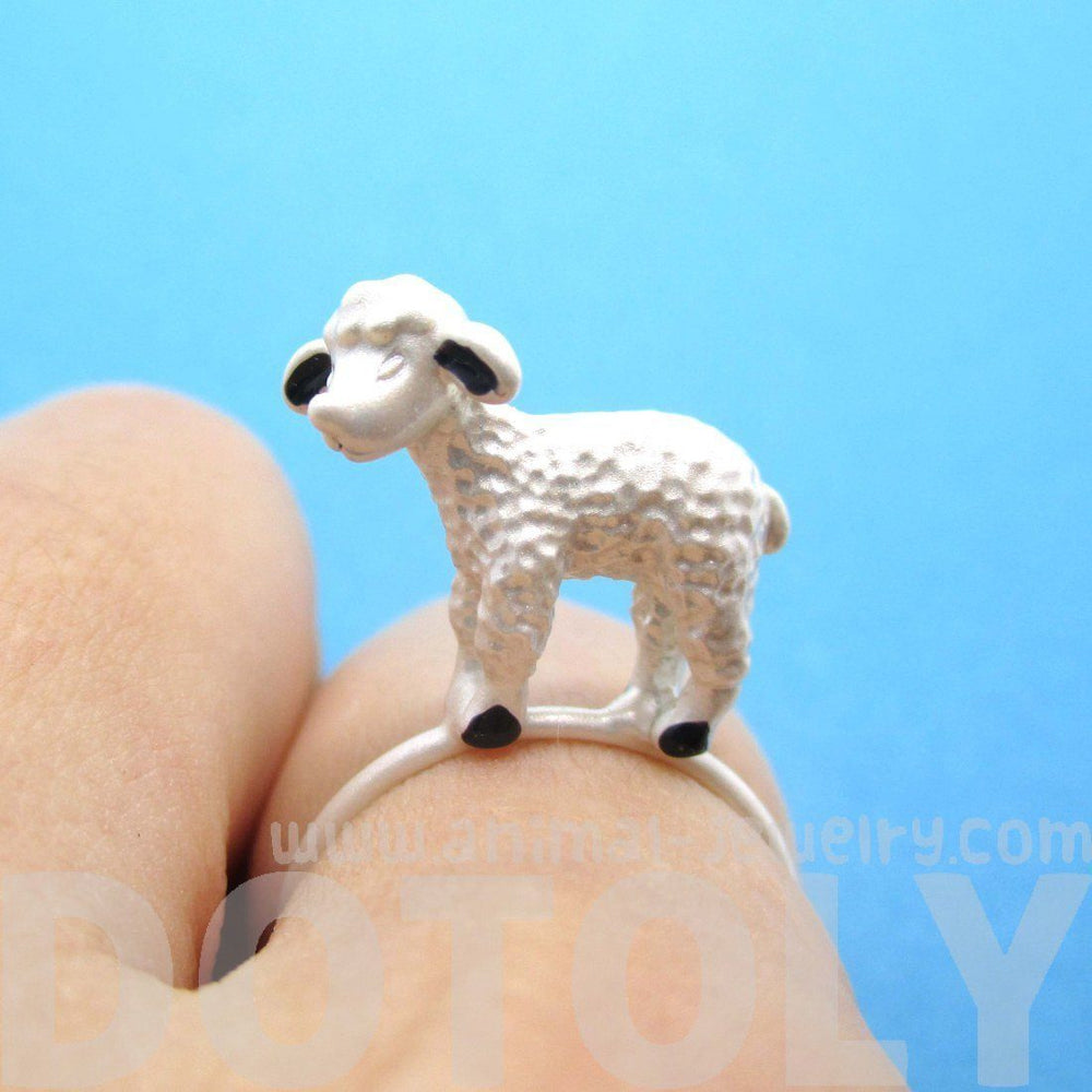 Adorable 3D Baby Lamb Sheep Shaped Animal Ring in Silver | DOTOLY