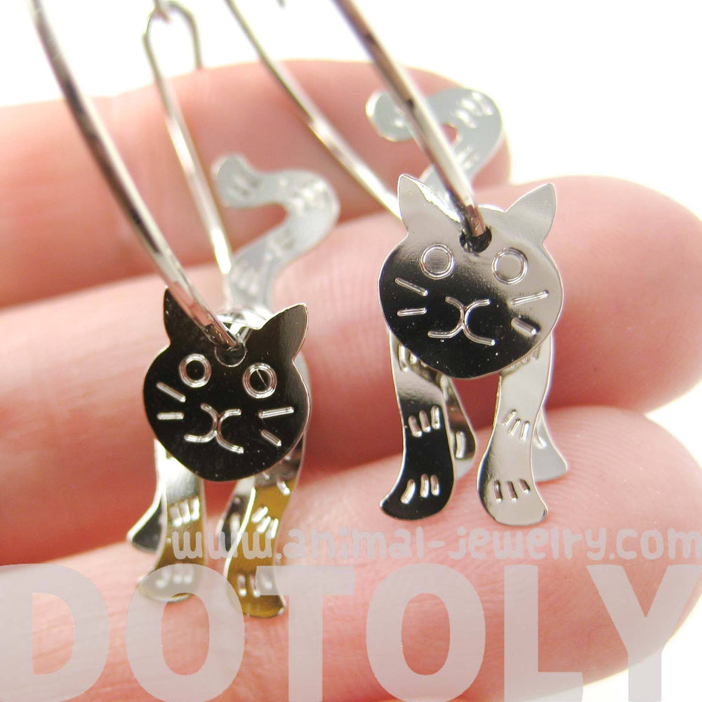 Adorable 3D Kitty Cat Shaped Dangle Hoop Earrings in Silver | Animal Jewelry | DOTOLY