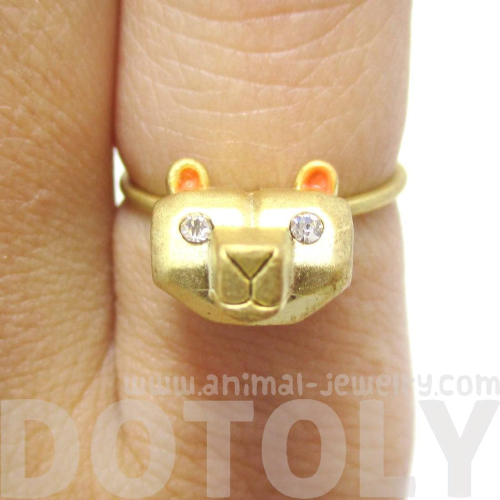 Adorable 3D Polar Bear Head Shaped Animal Ring in Gold | DOTOLY