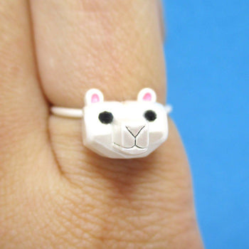 Adorable 3D Polar Bear Head Shaped Animal Ring in Silver | DOTOLY