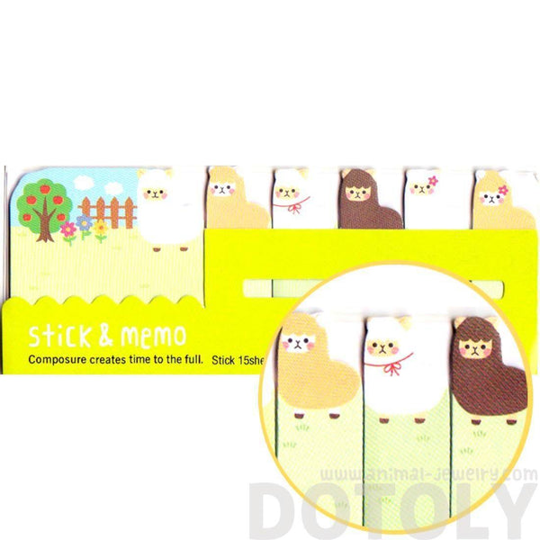 Adorable Alpaca llama Sheep Shaped Animal Themed Memo Pad Post-it Index Sticky Tab Bookmarks | DOTOLY