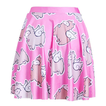 Adorable Alpaca Llama with Wings All Over Print Skirt with Elastic Waist in Pink | DOTOLY