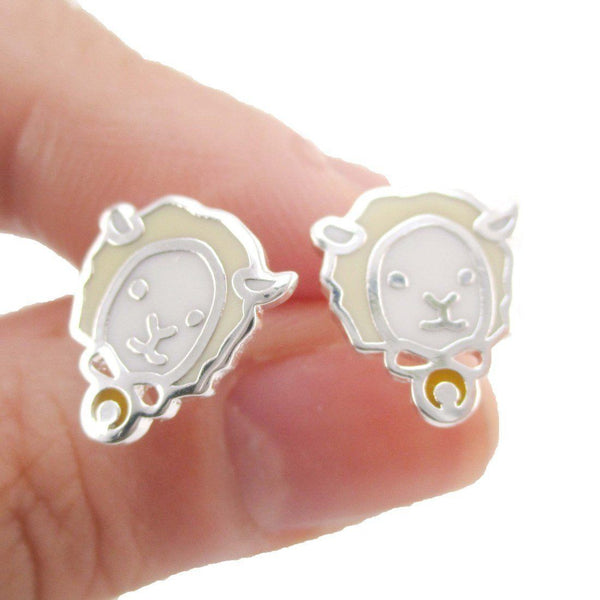 Adorable Alpaca Sheep Lamb Face Shaped Stud Earrings in Silver | Allergy Free | DOTOLY