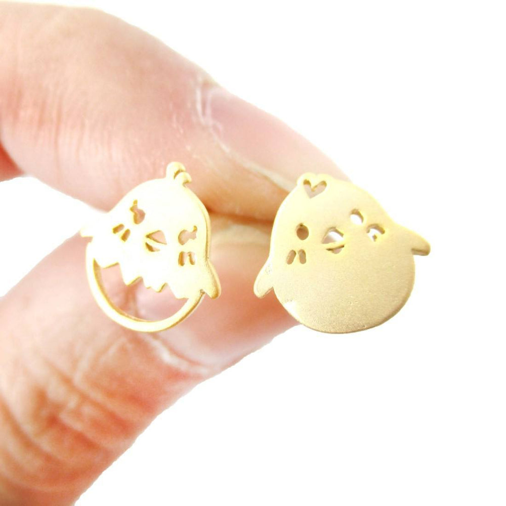 Adorable Baby Boy and Girl Chick Bird Shaped Animal Inspired Stud Earrings in Gold | DOTOLY