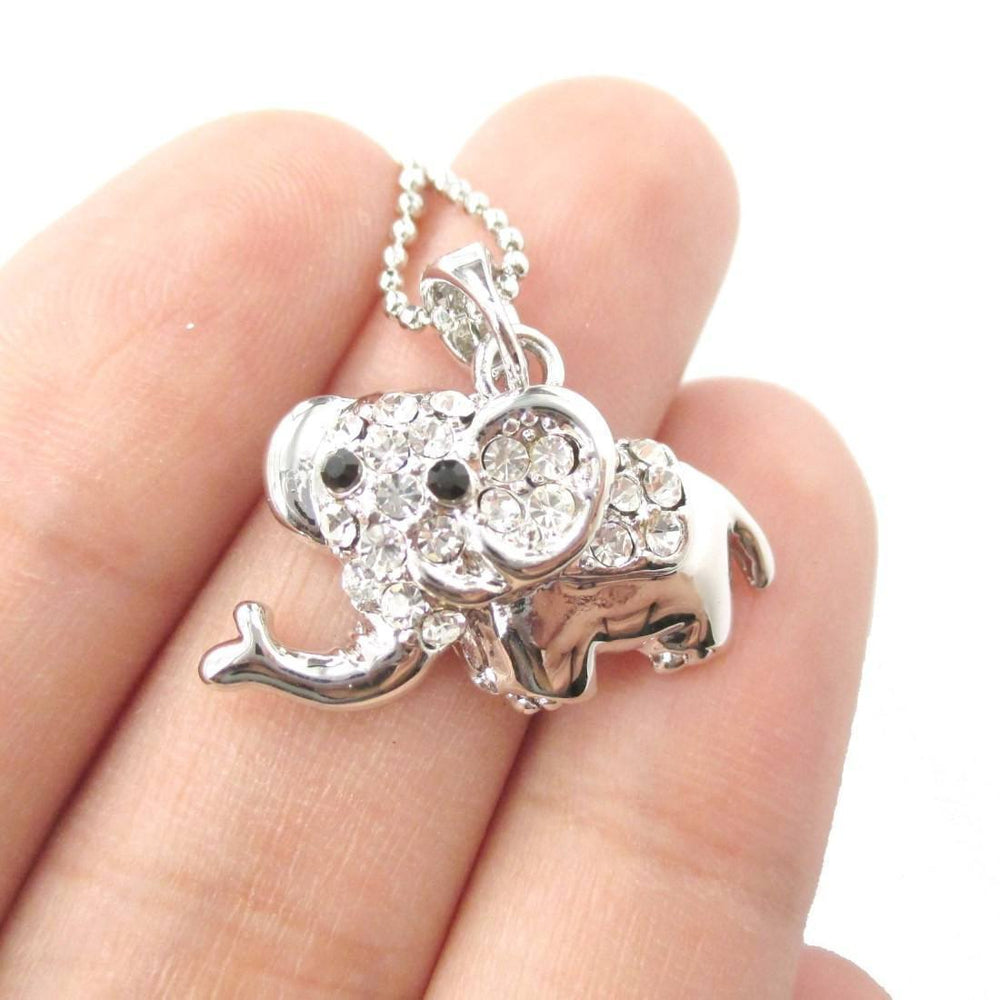 Adorable Baby Cartoon Elephant Shaped Pendant Necklace in Silver | DOTOLY | DOTOLY