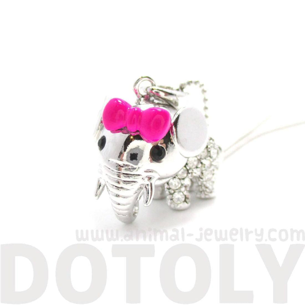 Adorable Baby Elephant With A Bow Shaped Pendant Necklace in Silver | DOTOLY | DOTOLY