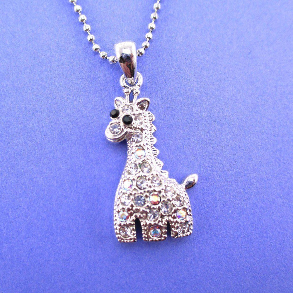 Adorable Baby Giraffe Shaped Rhinestone Charm Necklace in Silver | DOTOLY | DOTOLY