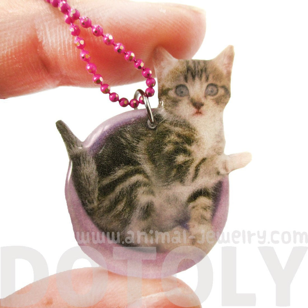 Adorable Baby Kitty Cat in a Food Bowl Animal Shaped Pendant Necklace | Handmade | DOTOLY