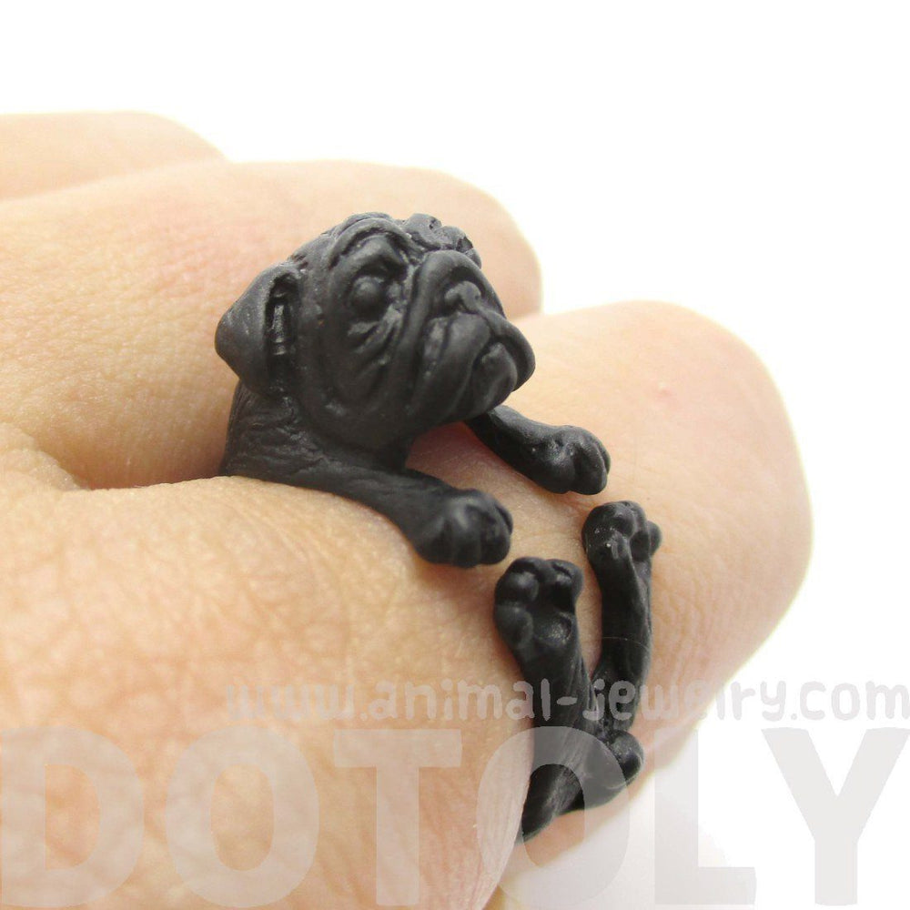 Adorable Black Pug Puppy Dog Shaped Animal Wrap Around Ring | Sizes 6 to 9 | DOTOLY