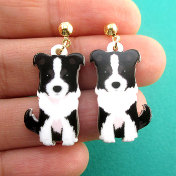 Adorable Border Collie Australian Shepherd Puppy Shaped Stud Earrings