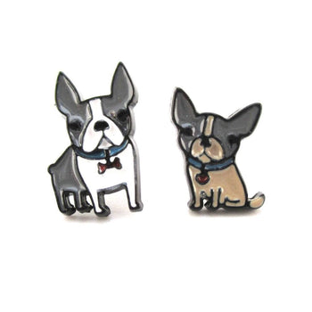 Adorable Boston Terrier Puppies Shaped Stud Earrings | Animal Jewelry | DOTOLY