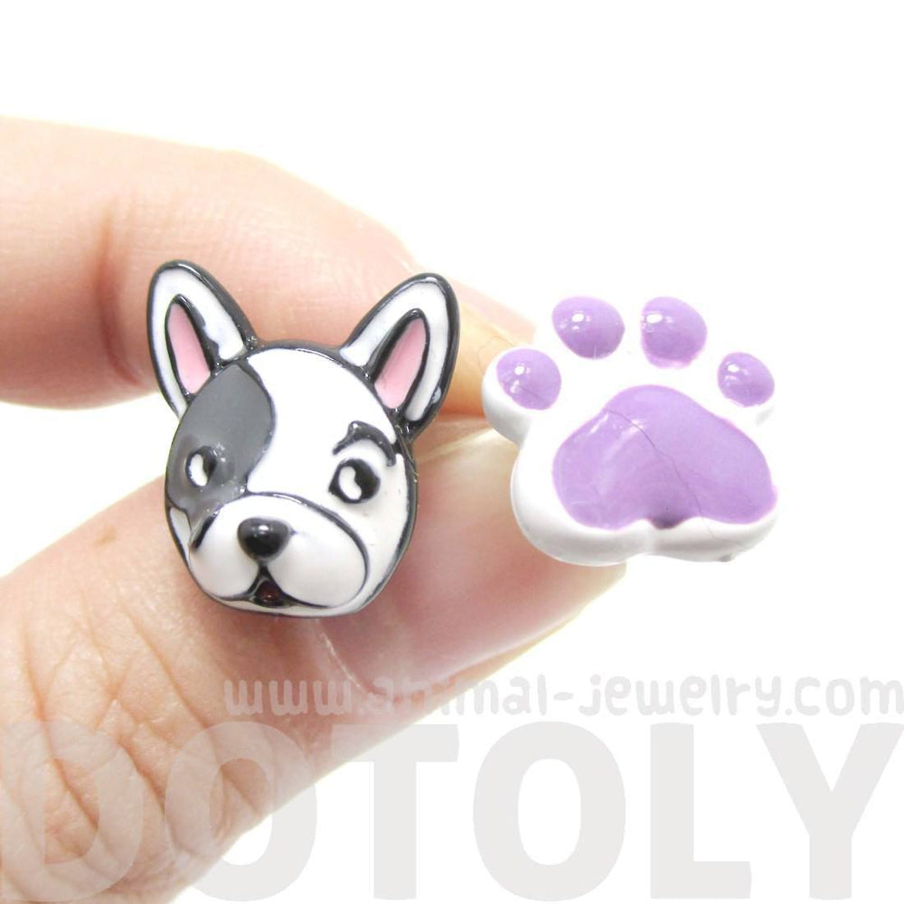 head pug puppy stud animal dog plastic earrings dotoly jewelry shrink handmade paw products shaped