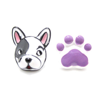Adorable Boston Terrier Puppy Dog Face and Paw Shaped Stud Earrings in Purple | DOTOLY | DOTOLY