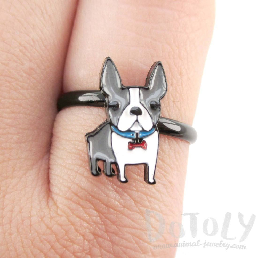 Adorable Boston Terrier Puppy Shaped Adjustable Ring in Grey and white | DOTOLY | DOTOLY