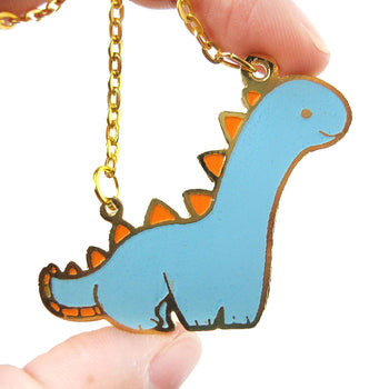 Adorable Brontosaurus Dinosaur Shaped Animal Pendant Necklace | Unique Handmade Jewelry | DOTOLY